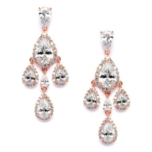Petite CZ Chandelier Clip Earrings, Rose Gold