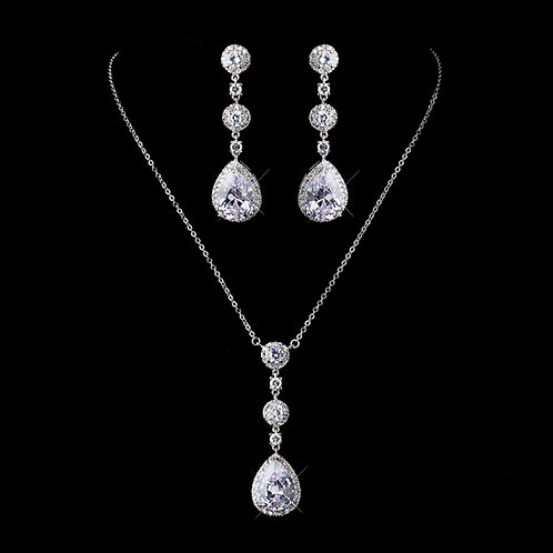 Pear drop necklace and earring set
