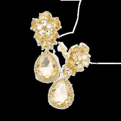 Light Topaz Flower Pear Drop Clip-Ons.