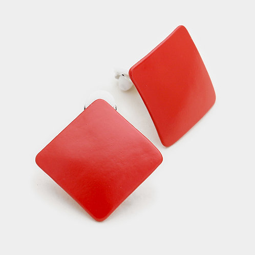 Red Square Clip-On Earrings