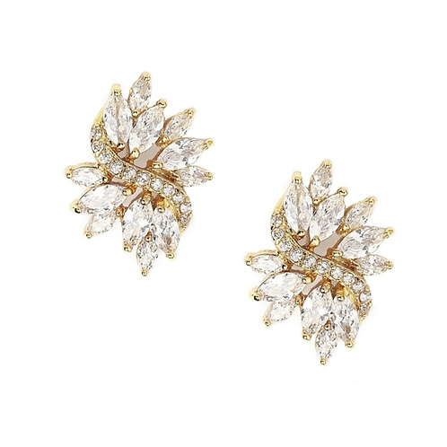 Marquis crystal clip on bridal earrings, gold