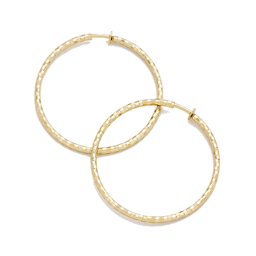 6.5cm Textured Gold Clip On Hoops