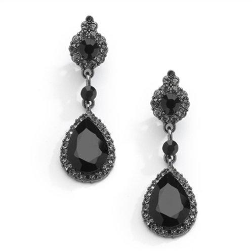 Edwardian style long jet black clip on earrings