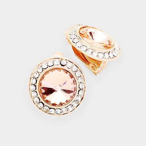 Pave Framed Peach Rose Gold Button Clip On Earrings