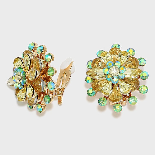 Green Yellow Stacked Flower Clip On Earrings