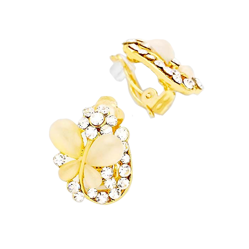Butterfly on a Petal Clip Earrings, Gold