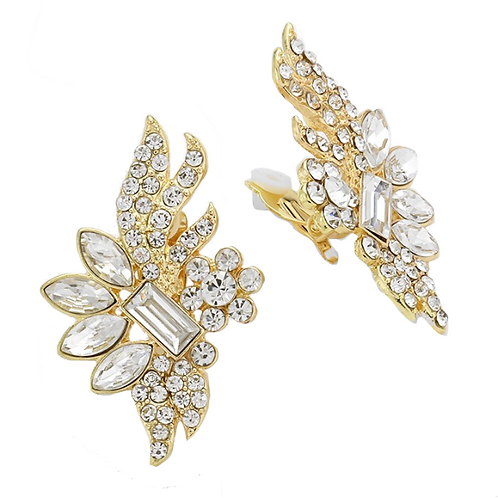 Flashy clip-on earrings for non-pierced ears, gold
