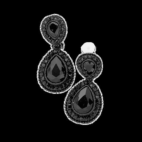 Dainty Pear Drop Clip Earrings, Jet Black
