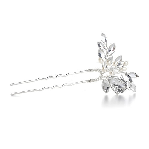 Freshwater pearl and crystal bridal hair stick pin