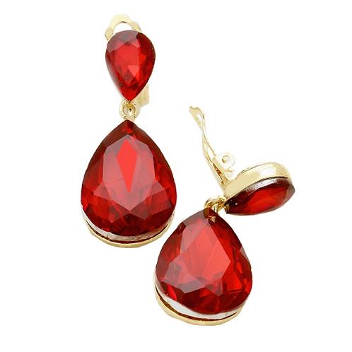 Siam Red Pear Drop Fashion Clip Earrings