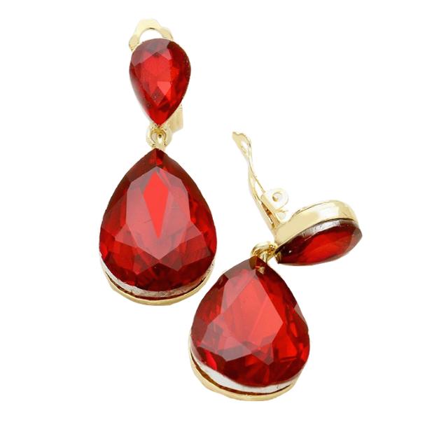 Ruby Red Clip-On Earrings