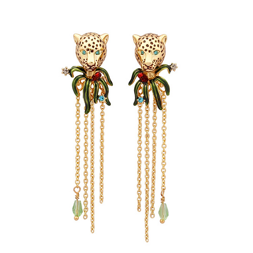 Jungle Leopard Enamelled Clip-On Earrings