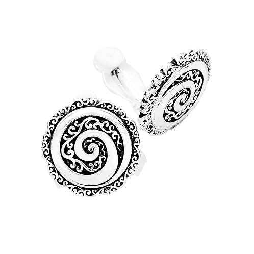 Antiqued Silver Spiral Button Clip On Earrings