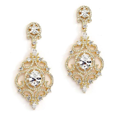 Clip-On Victorian Gold Scroll Earrings