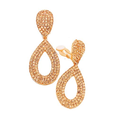 Rose Gold Crystal Teardrop Clip Earrings