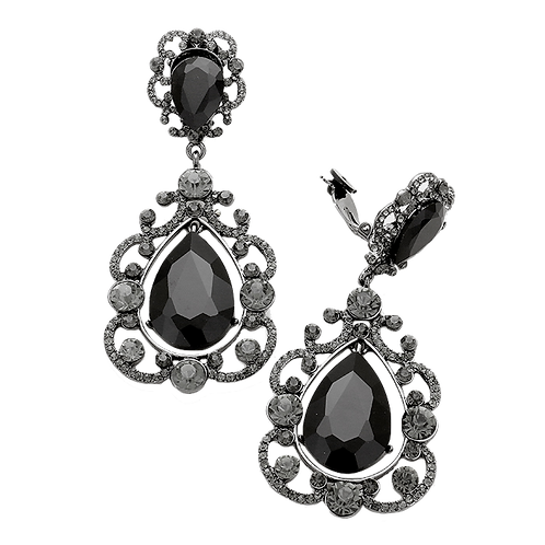 Large Elaborate Framed Drop Clip Earrings, Black