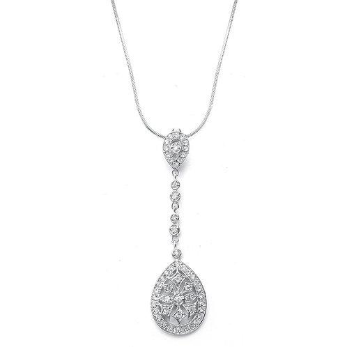 Long pendant necklace with faux marcasite