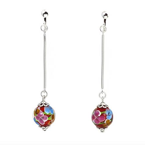 Cloisonne Glass Ball Dangle Clip-on Earrings