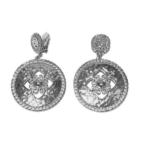 Silver Fleur Disc Clip-On Earring