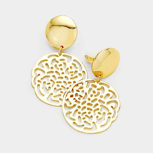 Cut Out Metal Disc Clip Earrings, Gold