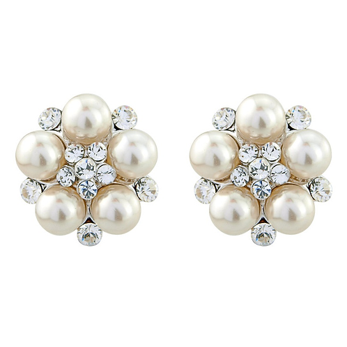 Classic pearl and crystal button earrings