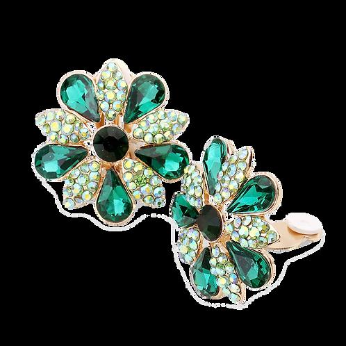 Green Daisy Clip On Earrings