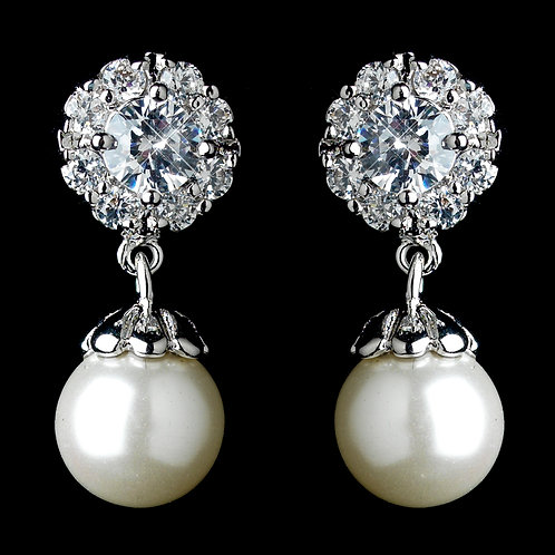 Dainty pearl drops on crystal flower bridal earrings for peirced ears
