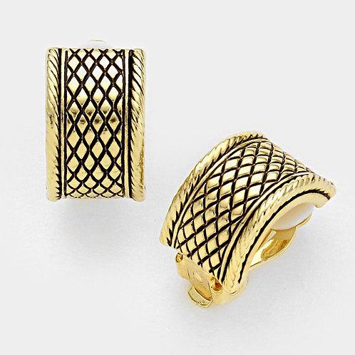Antiqued Gold Patterned Demi Hoop Clip Earrings
