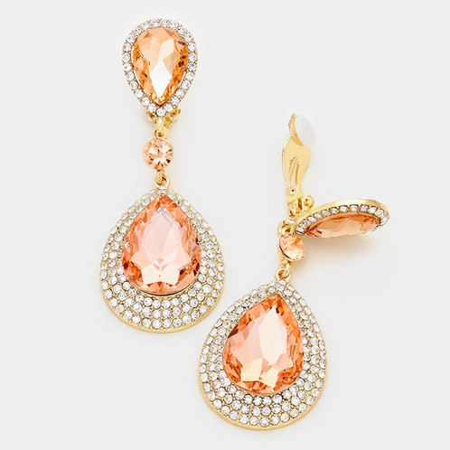 peach item bridal wedding dangle rhinestones pearl earrings color gift drop elegant party for women jewelry