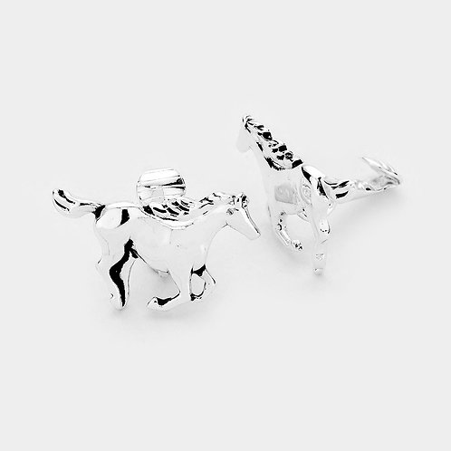 Galloping Silver Horse Clip On Earrings