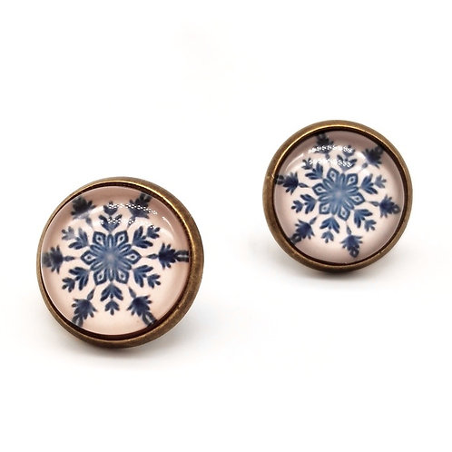 Christmas Snowflake Clip On Button Earrings