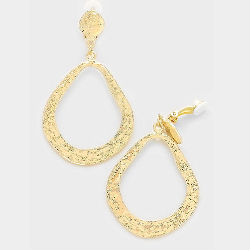Clip-on irregular drop hoop earrings, gold