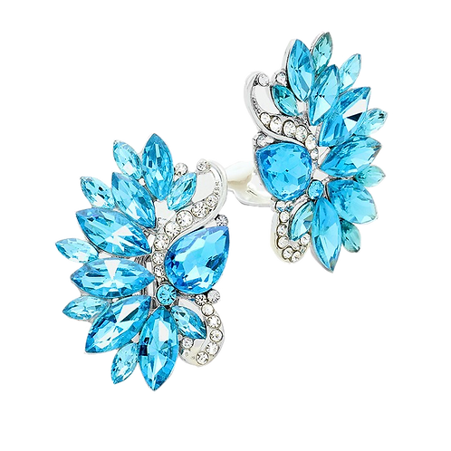 Aqua Blue Cluster clip on earrings