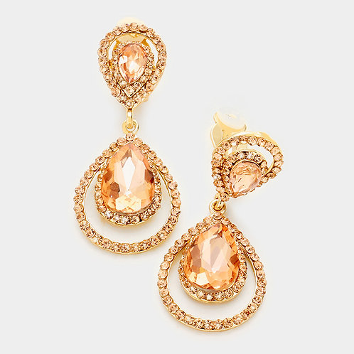 Pave Framed Double Pear Drop Clip Earrings, Peach