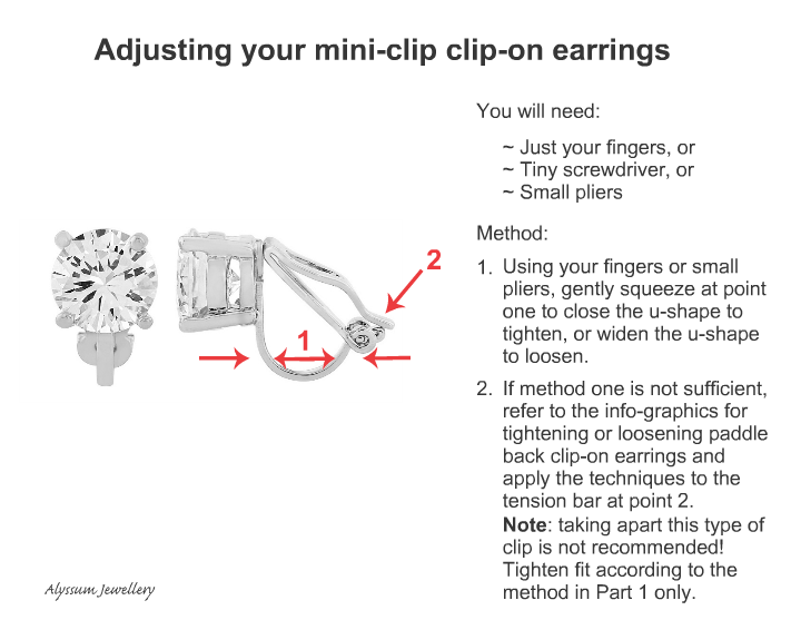 Adjusting a mini-clip clip on earring