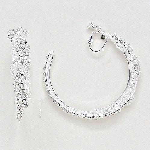 5cm Rhinestone and Chain Twist Clip On Hoop Earrings, Silver