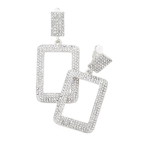 Crystal Paved Rectangle Drop Clip Earrings, Silver