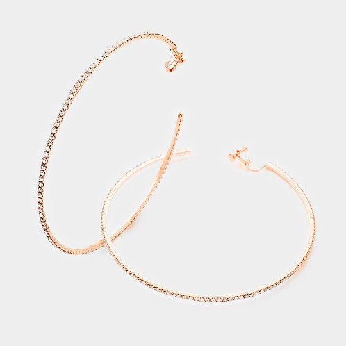 10cm Rhinestone Studded Clip-On Hoop, Rose Gold