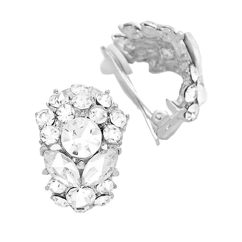 Clear Crystal Half Hoop Clip Earrings
