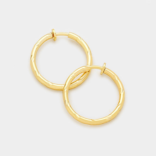 3cm Gold Twist Clip-On Hoops
