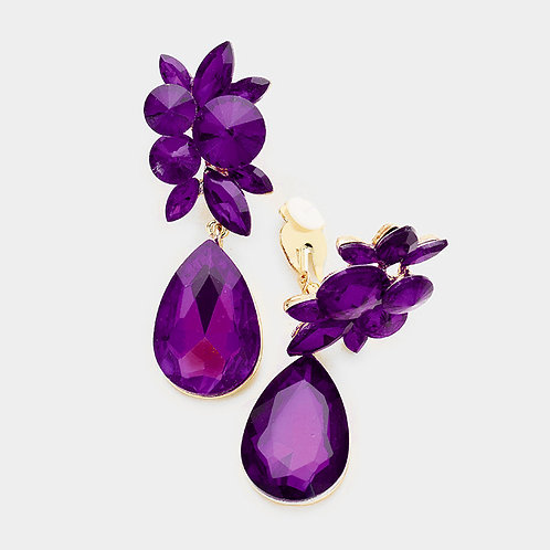 Amethyst Purple Drop Clip Earrings