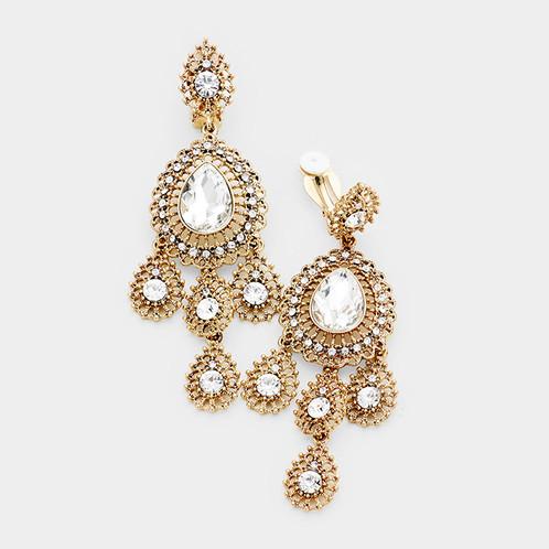 Boho chandelier clip earrings antiqued gold clip on earrings boho chandelier clip earrings antiqued gold aloadofball Gallery