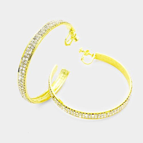 6cm Rhinestone Banded Open Hoop, Gold