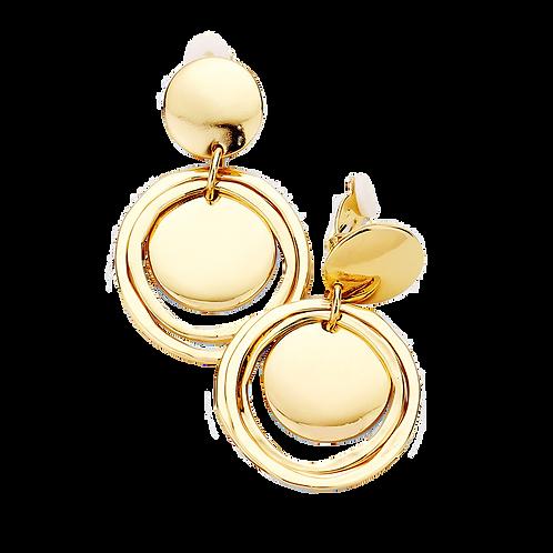 Gold Disc and Rings Clip On Hoop Earrings