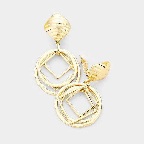 Geometric Layered Clip-on Drop Hoops, Gold