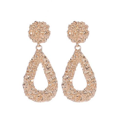 Gold Tone Textured Teardrop Clip Earrings