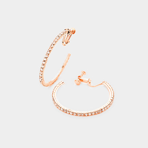 Rhinestone Studded Rose Gold Clip On Hoops
