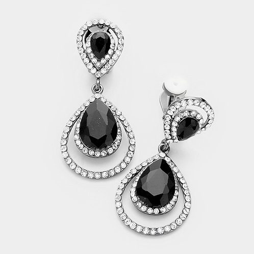 Framed Black Pear Drop Clip-on Earrings