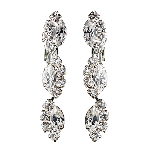 Wavy rhinestone clip-on earrings, silver