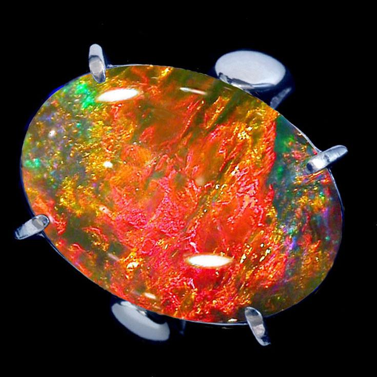 Polished Fire Opal Cabochon Gemstone